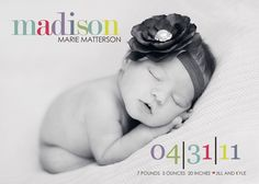 Love her birth announcements