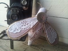 Vintage lace bumble bee in dusky pink linen. by littlebowery, £24.00