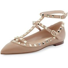 Valentino Rockstud Caged Ballerina Flat ($1,045) ❤ liked on Polyvore featuring shoes, flats, alpaca, flat pumps, leather flats, pointy flats, ballet flat shoes and pointy ankle strap flats