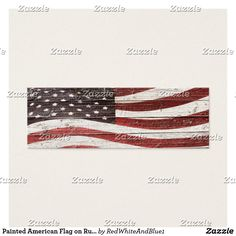 Painted American Flag on Rustic Wood Texture Mini Business Card is available in three sizes and several paper styles. Created by Redwhiteandblue1 and  #Gravityx9 Designs.