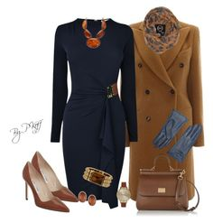 A fashion look from November 2014 featuring navy blue cocktail dress, brown coat and brown pumps. Browse and shop related looks. Classy Outfits, Stylish Outfits, Fashion Outfits, Fall Outfits, Womens Fashion, New Look Fashion, Winter Fashion, Elegantes Outfit, Work Attire