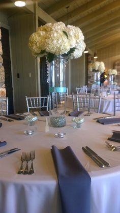 Tall centerpiece with Tiffany blue accents