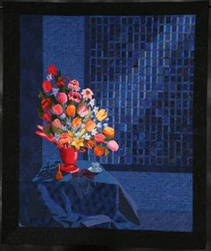 Photo Finish: Red Vase at Midnight by Barbara E. Lies in Quilters Newsletter December/January Blue Quilts, Small Quilts, Quilt Stitching, Applique Quilts, Skinny Quilts, Asian Quilts, Quilting Designs, Quilting Ideas, Landscape Art Quilts