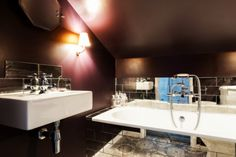 Sumptuous Bathroom Walls in Farrow & Ball 'Pelt' and tiles by Fired Earth. Anouska Tamony Designs- London