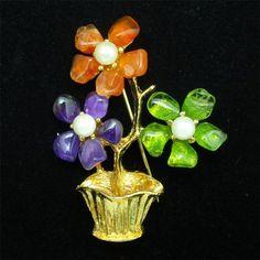 Swoboda+Vase+of+Flowers+Pin+Vintage+Floral+Arrangement+Brooch+#Swoboda