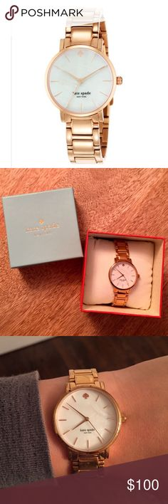 Kate Spade Gramercy Rose Gold Watch 34mm rose gold bracelet with mother of pearl face. Worn only a few times. New batteries. Comes in original box with extra links. kate spade Accessories Watches