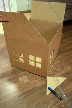 Faça um playground para gatos com caixas de papelão - #peppapig - Confira no blog Consul e Você: www.consul.com.br/Consulevoce/BlogdaConsul/EntryId/545/Fa...... Cardboard Box Houses, Cardboard Dollhouse, Cardboard Box Crafts, Cardboard Crafts, Cardboard Playhouse, Paper Houses, Diy For Kids, Crafts For Kids, Carton Diy