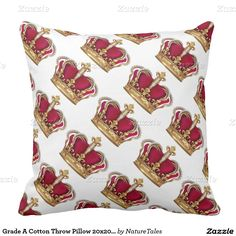 Grade A Cotton Throw Pillow 20x20/Crowns