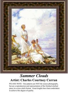 Summer Clouds, Fine Art Counted Cross Stitch Pattern also available in Kit and Digital Download #pinterestcrossstitchpattern #pinterestgifts #fineartcrossstitchpatterns