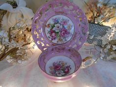 vintage shabby pink roses footed teacup & saucer by polkadotrose