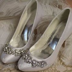 Satin Stiletto Heel Pumps with Rhinestone Wedding Shoes -GBP£33.99
