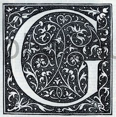 INSTANT DOWNLOAD French Letter G Illuminated Lettering Ornate Very Hi Res 6x6…