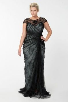 Lace and Draped Tulle Gown in Black / Marble - ...