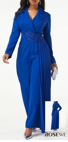 Back Zipper Notch Collar Button Detail Jumpsuit African Fashion Dresses, African Dress, Fashion Outfits, Womens Fashion, Fashion Deals, Jumpsuits For Women, Beautiful Outfits, Plus Size Fashion, Autumn Fashion