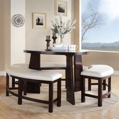 Upgrade your home decor with this triangle-shaped Paradise dining table. This dining set is constructed of a durable Asian rubberwood with benches that feature a beige, faux leather upholstery.