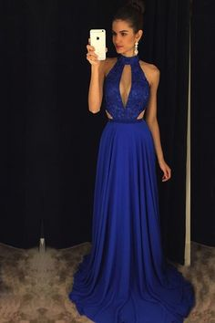 Halter prom dress, high neck prom dress, chiffon prom dress, cute navy blue prom dress for 2017
