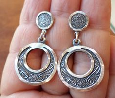 Sterling Silver 925 Stamped, MO Signed, Made in Mexico, Azteca Design Dangle…