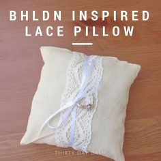 Thirty Day Dash | Wedding and Creative Services | BHLDN Inspired Lace Pillow. Perfect foe your ring bearer to carry at your ceremony! Or to add a touch of feminimity to the bedroom! www.thirtydaydash.com