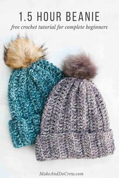 Crochet a hat in an hour! This free crochet hat pattern for beginners is SO easy and this tutorial walks you through how to crochet a beanie step-by-step. Blasen One Hour Free Crochet Hat Pattern for Beginners (+ Tutorial) Easy Crochet Hat, Chunky Crochet, Crochet Crafts, Knit Crochet, Beginner Crochet, Double Crochet, How To Crochet For Beginners, Crochet Adult Hat, Beginners Sewing