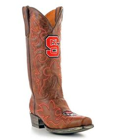 Look what I found on #zulily! North Carolina State Wolfpack Brass Leather Cowboy Boot - Men #zulilyfinds