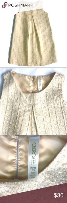 EUC Off-White and Gold Brocade Dress in Girls' 7/8 This beautiful girls's dress in size 7/8 is fully lined. The outer is a cotton/polyester/metallic brocade in beautiful cream and gold.  Beautiful for any occasion; and easy to dress up or down. Cherokee Dresses