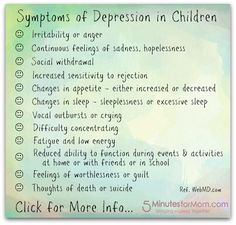 "Secrets of Depression by Susan Carraretto ""If your child is exhibiting symptoms of depression…""1) Seek help immediately. 2) Teaching both the child and the family about depression can be a big help. 3) Consider counseling 4) medication"""