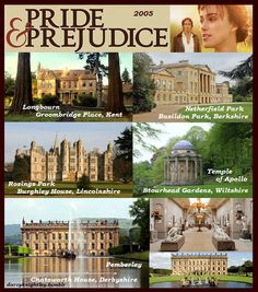 "Filming locations - Pride & Prejudice (2005) The 2005 film is a good intro to P&P. View the much longer 1995 version for the indepth treatment. Shown are locations where the 2005 version was filmed. 2005 film version can be bought cheaply (5-7.50$) at many big box stores. Pair it with ""Jane Austen"" dressed 18"" or other doll. Book is hard for new readers. If they can read Dickens' Christmas Carol they shouldbe able to read P&P."