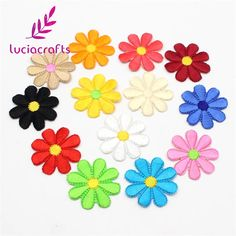 24pcs/lot 4cm Random Mixed Colors Iron-on or Sew-on Sun flower Cloth Paste 20010064(4HS24) #Affiliate
