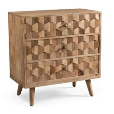 Union Rustic Westphal Mid-Century Modern Mango Wood 3 Drawer Accent Chest | Wayfair