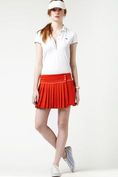 lacoste technical pique pleated tennis skirt with mesh back waistband