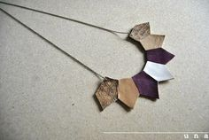 Statement Necklace Geometric Necklace leather necklace by UNAsiUNA