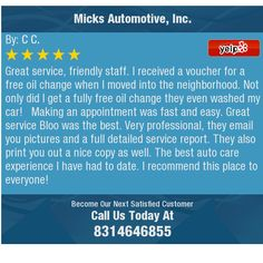 Great service, friendly staff. I received a voucher for a free oil change when I moved...
