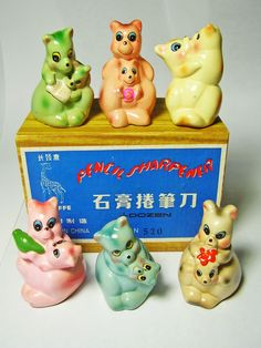 FOR SALE ! 6 kangaroos with babies VINTAGE Chinese CHALKWARE clay CERAMIC figural PENCIL SHARPENERS ! http://www.ebay.com/sch/mypinkturtle/m.html?_ipg=50&_sop=12&_rdc=1