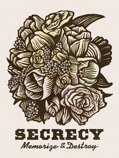 Secrecy ~ Martin Mazorra's Language of Flowers, Bouquet Series ~ Color Woodcut and Letterpress print, 18 x 24 inch, French's 100 lb. Cover, Insulation Pink. Handcut, Handprinted with moveable type. Edition of 20.