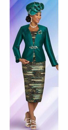 Ben Marc 48266 3 piece Skirt Suit Colors: Emerald, Mocha, Turquoise Sizes: 22 Matching HAT Available Ben Marc First Lady Church Suits, Church Suits And Hats, Church Attire, Church Outfits, Church Hats, Church Clothes, Church Dresses For Women, Women Church Suits, Suits For Women