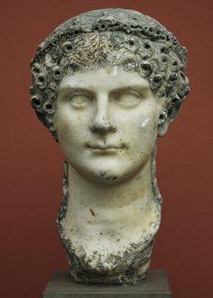 Agrippina the Younger, sister of Emperor Caligula, mother of Emperor Nero, wife of Emperor Claudius, Roman bust (marble), 1st century AD, (Ny Carslberg Glyptotek, Copenhagen.)