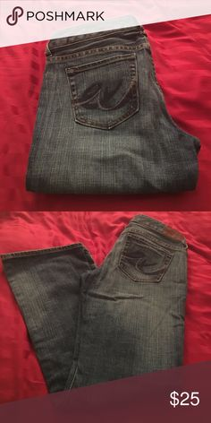 Flared, comfy Express jeans Super comfy, stretchy denim with a boot cut bottom. Cute with flats or wedges. No signs of wear. Express Jeans Boot Cut