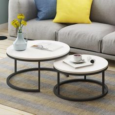 Benson - Modern Round Coffee Table Set Bring beautiful modern design to your lounge room with the stunning Benson round coffee table! Made from iron & wood. Small table measures approximately Large Table, Small Tables, Round Coffee Table Sets, Round Tables, Coffee Tables, Living Room Designs, Living Room Decor, Simple Living Room, Decoration Inspiration