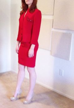 Alberta Ferretti skirt suit. Red embellished jacket and skirt. Perfect for work and holiday parties. Alberta Ferretti makes such great fitting pieces!