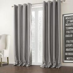 Silver Solid Modern Room Darkening Curtain