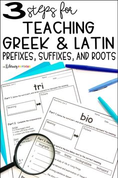 Improve reading comprehension with roots, prefixes, and suffixes! Add Greek and Latin roots, prefixes, and suffixes to your upper elementary or middle school curriculum. Three student-centered steps for teaching word parts! Teaching Latin, Teaching Vocabulary, Vocabulary Activities, Teaching Reading, Vocabulary Strategies, Teaching Themes, Spelling Activities, Teaching Spanish, Teaching Tips