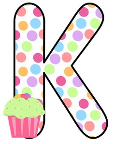 Abecedario con Lunares de Colores y Cupcakes. Alphabet with Colored Polka Dots and Cupcakes. Birthday Crafts, 2nd Birthday, Letter K Design, Scrapbook Letters, Kid Cupcakes, Abc For Kids, Letter Balloons, Birthday Cake Toppers, Kindergarten Classroom