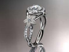 14kt white gold diamond leaf and vine wedding ring,engagement ring,wedding band with moissanite center stone ADLR127