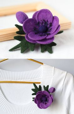 Purple Flower Brooch Anemone Spring fashion Flirty by TaniaFelt Bunny Crafts, Felt Crafts, Felt Flowers, Fabric Flowers, Diy Yarn Decor, Felt Hair Accessories, Flower Arrangement Designs, Unique Gifts For Mom, Flower Band