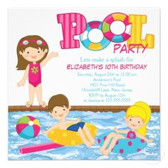 Brunette Girl Birthday Pool Party Invitation Swim Parties Summer