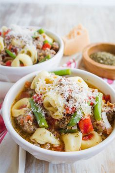 Slow Cooker Tortellini Sausage Soup - a family favorite for years! from www.thirtyhandmadedays.com