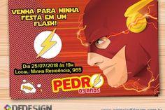Um convite perfeito para o tema festa infantil the flash para a festinha do seu filho é para quem quer muita velocida em um piscar de olhos!