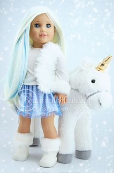 Frost Unicorn Deluxe Elegance Doll Wig for Custom American Girl Dolls Size 10-11 Wig: Beautifully Custom Exclusive