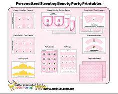 Sleeping Beauty Personalized Party Printables Birthday Celebration, Birthday Parties, Birthday Ideas, Beauty Party Ideas, Princess Aurora Party, Sleeping Beauty Party, Book Themes, Party Printables, Party Themes