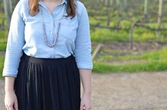 Chambray shirt + pleated skirt
